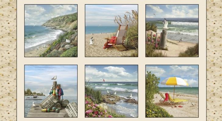 Coastal Dreams Ocean Seaside Cotton Quilting Fabric Panel