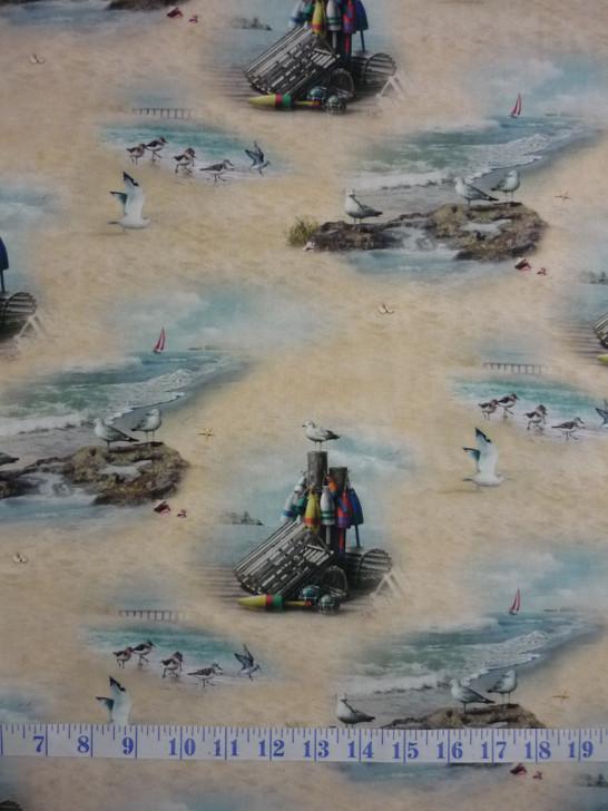 Coastal Dreams Ocean Seaside Scenic Cotton Quilting Fabric 1/2 YARD