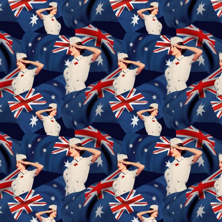 Remembering Womens Wartime Service Nurses and Australian Flags Cotton Quilting Fabric