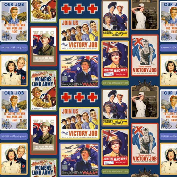 Remembering Womens Wartime Service Blocks Allover Cotton Quilting Fabric