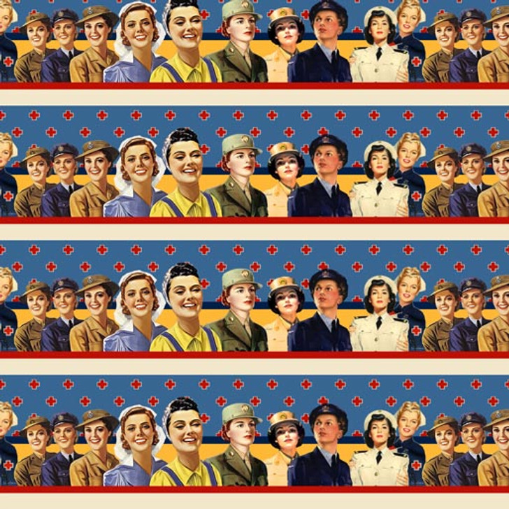 Womens Wartime Service Womens Stripe Cotton Quilting Fabric