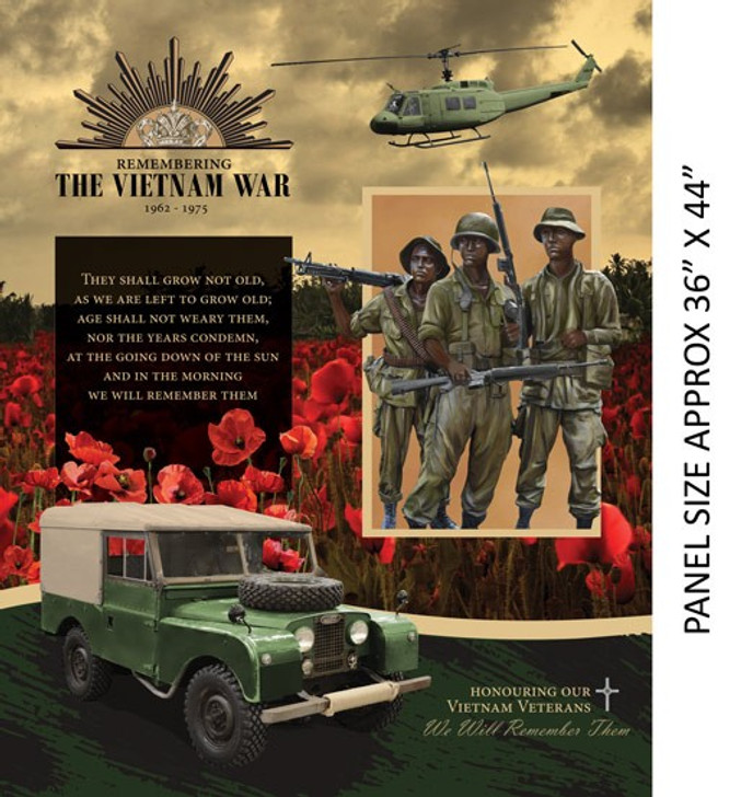 Remembering Vietnam War Cotton Quilting Fabric  Landrover Panel