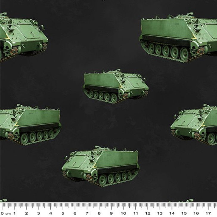 Remembering Vietnam War ANZACS Armoured Personnel Carrier Charcoal Cotton Quilting Fabric