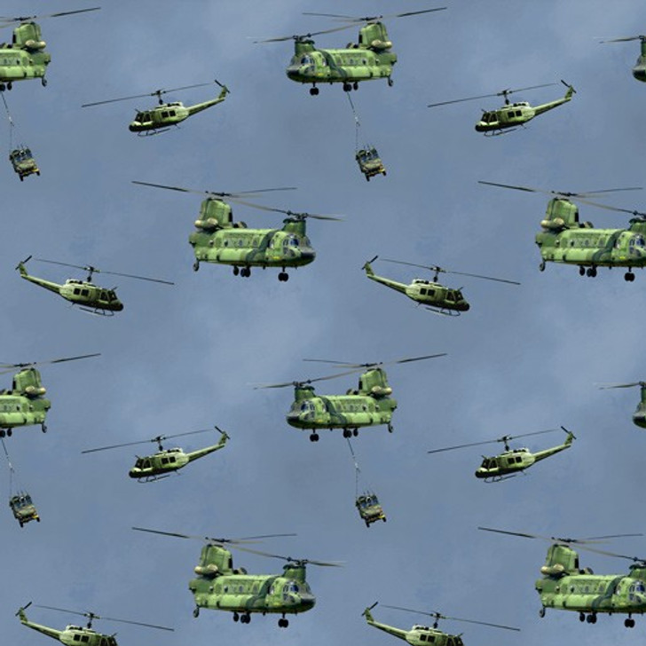 Remembering Vietnam War ANZACS Helicopters and Chinooks Blue Cotton Quilting Fabric
