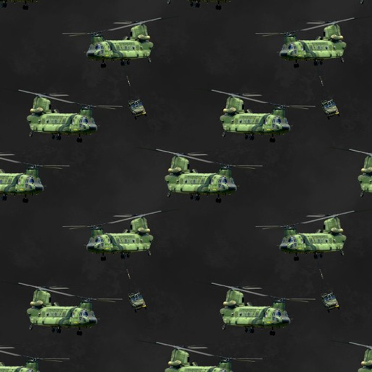 Remembering Vietnam War ANZACS Chinook Helicopters Charcoal Cotton Quilting Fabric