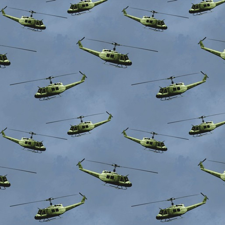 Remembering Vietnam War ANZACS Helicopters Blue Cotton Quilting  Fabric
