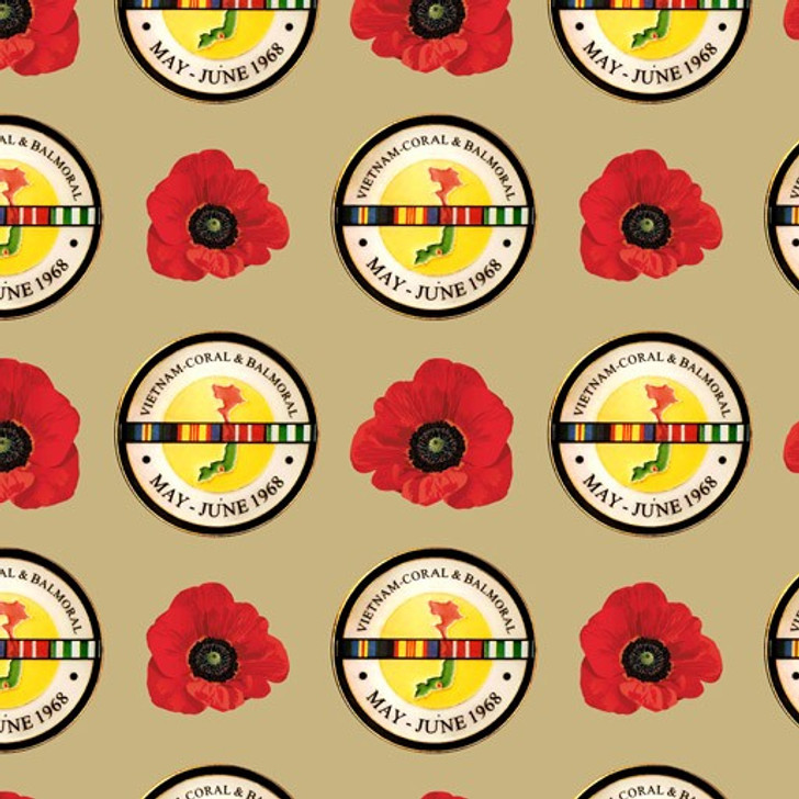 Remembering Vietnam War ANZACS Coral and Balmoral Beige Badges Cotton Quilting Fabric