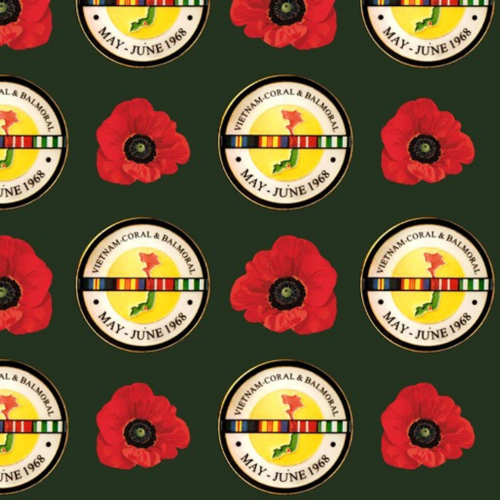 Remembering Vietnam War ANZACS Coral and Balmoral Bottle Green Badges Cotton Quilting Fabric