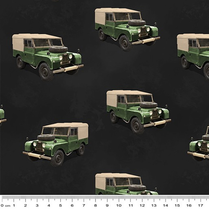 Remembering Vietnam War ANZACS Land Rover Charcoal Cotton Quilting Fabric