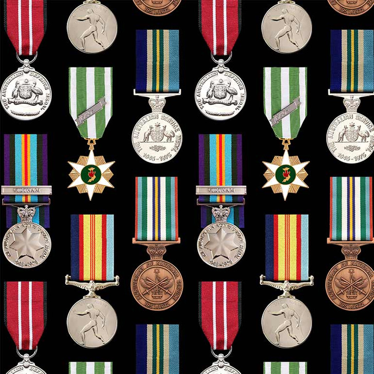 Remembering Vietnam War ANZACS Medals Cotton Quilting Fabric