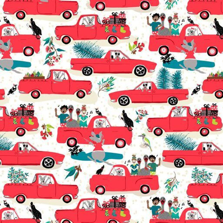 Aussie Bush Christmas Holden Utes White Background Cotton Quilting Fabric