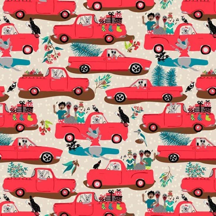 Aussie Bush Christmas Holden Utes Light Beige Background Cotton Quilting Fabric