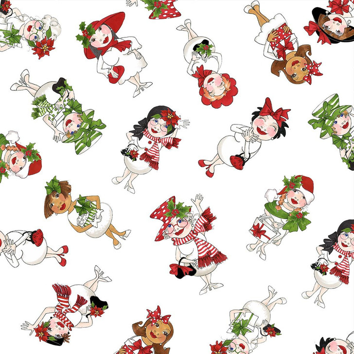 Christmas Snowball Ladies Tossed Black Cotton Quilting Fabric