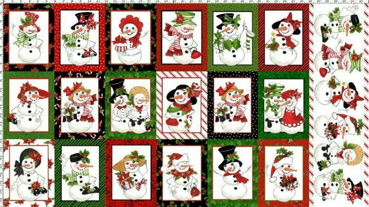 Christmas Snow Lady Snowman Cotton Quilting Fabric Panel