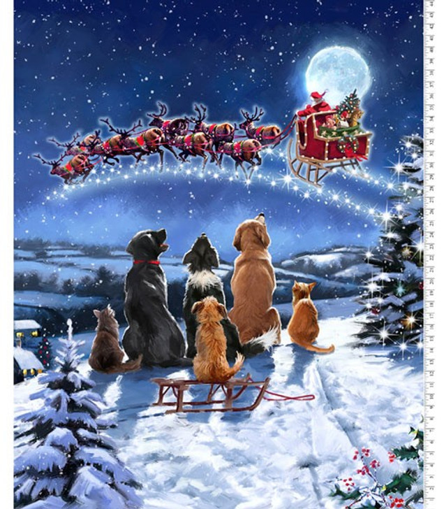 Holiday Spirit Christmas Winter Meeting Cotton Quilting Fabric Panel