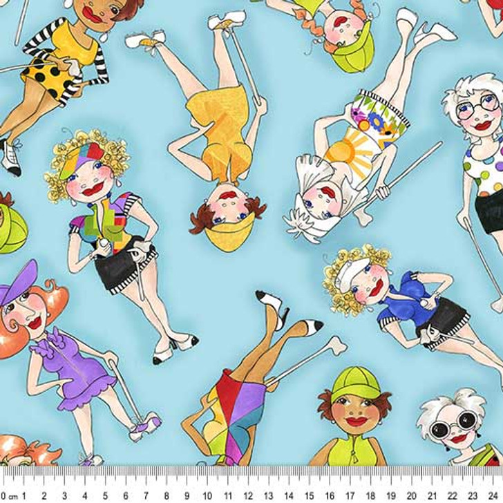 Golf Happy Golfer Girls Tossed  Turquoise Background by Loralie Cotton Quilting Fabric