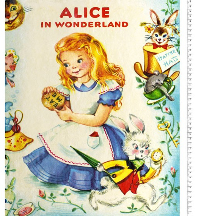Disney Alice in Wonderland Story Time Vintage Cotton Quilting Fabric Panel