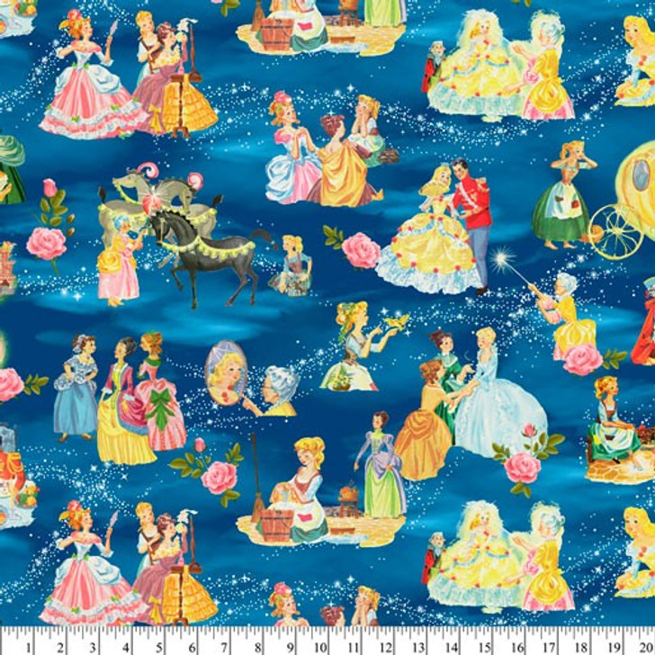 Disney Cinderella's Tale Story Time Vintage Cotton Quilting Fabric