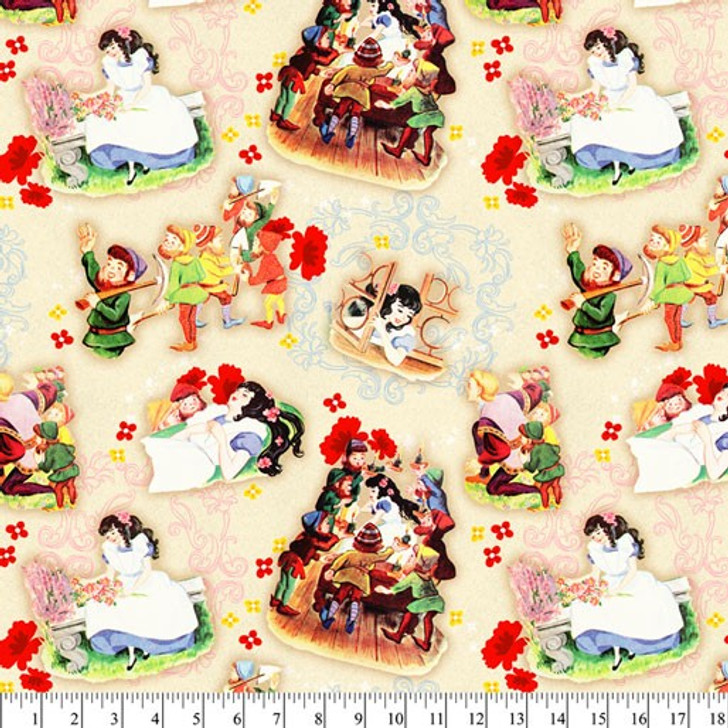 Disney Snow White Mirror Mirror Story Time Vintage Cotton Quilting Fabric