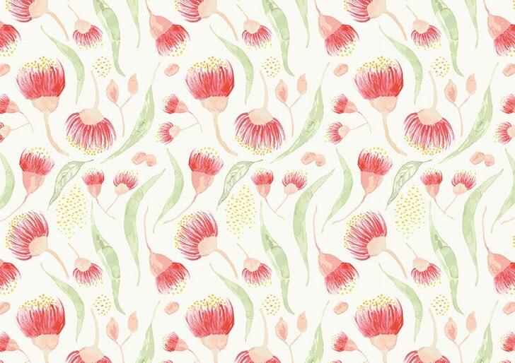 Australian Gum Tree Leaf and Blossom White Background Cotton Quilting Fabric  70 cms