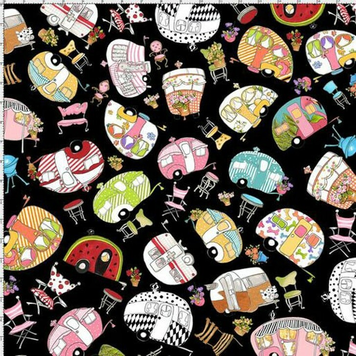 Vintage Holiday Trailer Toss Black by Loralie Cotton Quilting Fabric
