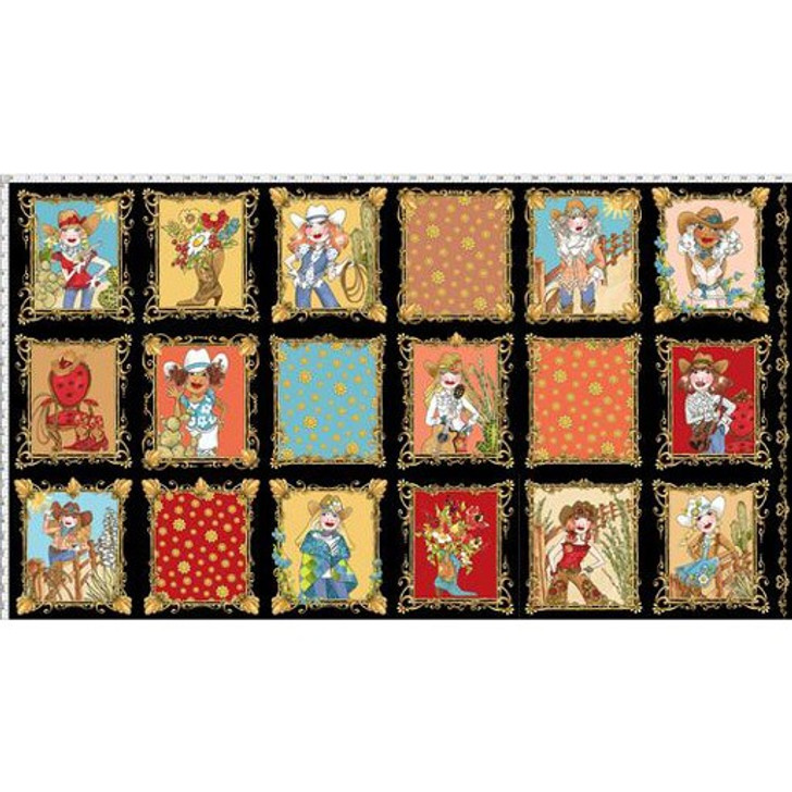 Whoa Girl Cowgirl by Loralie Black Cotton Quilting Fabric Panel