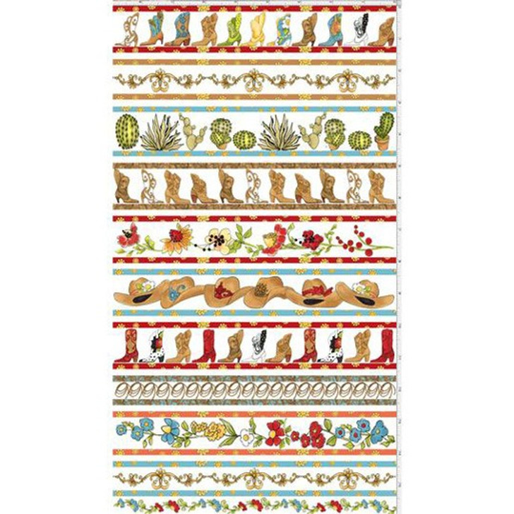 Whoa Girl Cowgirl by Loralie Border Stripe White Cotton Quilting Fabric
