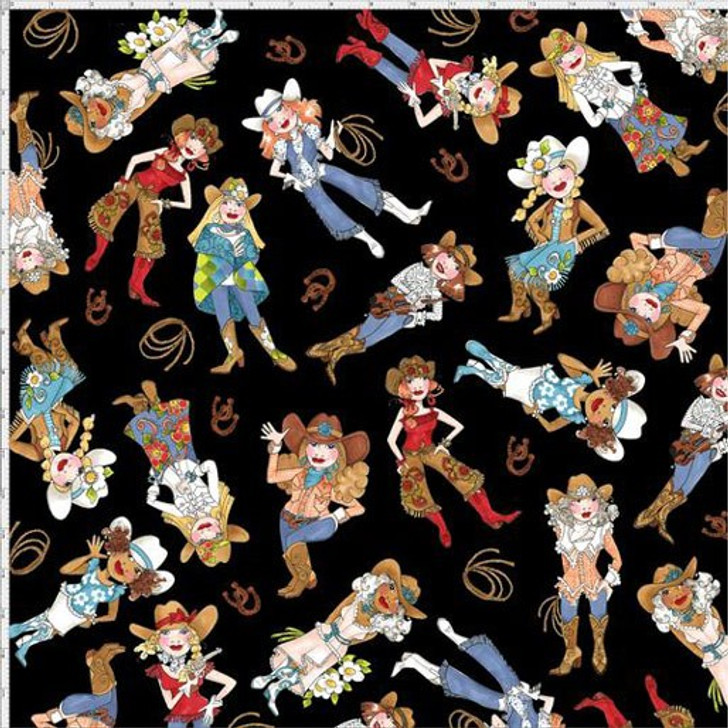Whoa Girl Cowgirls Tossed Black  by Loralie Cotton Quilting Fabric