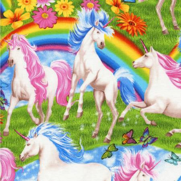 Unicorns and Rainbows Multi STRETCH KNIT Timeless Treasures Fabric 1/2 YARD
