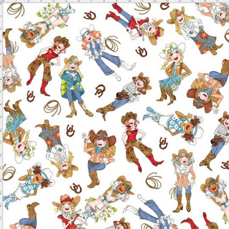 Whoa Girl Cowgirls Tossed White  by Loralie Cotton Quilting Fabric
