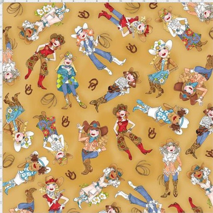 Whoa Girl Cowgirls Tossed Tan  by Loralie Cotton Quilting Fabric
