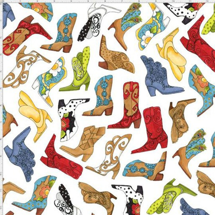 Whoa Girl Bootery Tossed White Cowgirl Boots by Loralie Cotton Quilting Fabric