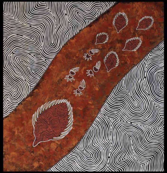 Ngurambang Aboriginal Art Mother Echidna Cotton Quilting Fabric XX Large Panel