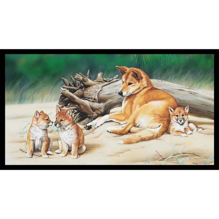 Australian Wildlife Art 4 Dingoes Cotton Quilting Fabric Panel