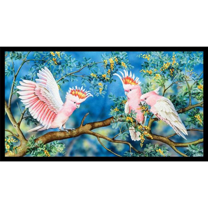 Australian Wildlife Art 4 Cockatoos Cotton Quilting Fabric Panel