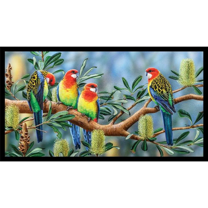 Australian Wildlife Art 4 Rosellas Cotton Quilting Fabric Panel