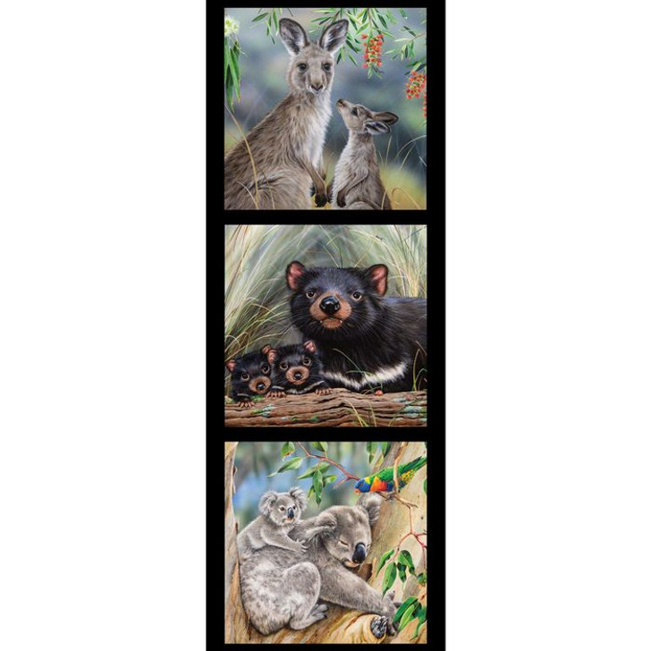 Australian Wildlife Art 5 Kangaroo Koala Tasmanian Devil Cotton Quilting Fabric Small Panel