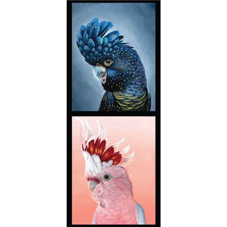 Australian Wildlife Black Cockatoo Galah Chris Riley Cotton Quilting Fabric Small Panel
