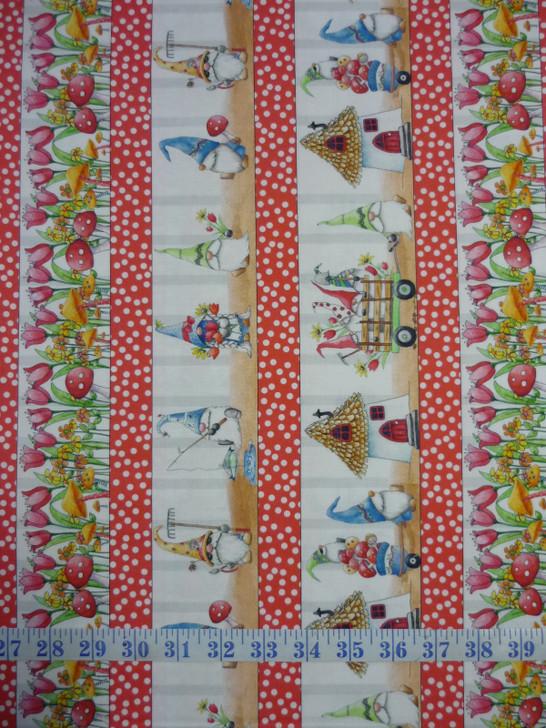 Gnomesville Gnome Character Stripe Cotton Quilting Fabric