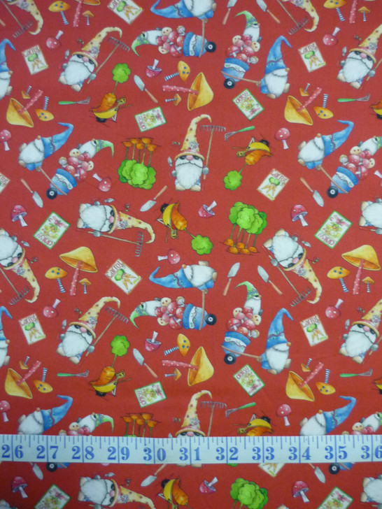 Gnomesville Gnomes and Vegie Toss Red Cotton Quilting Fabric