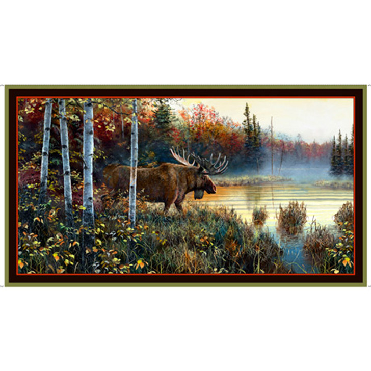 Moose Country Moose Cotton Quilting Fabric Panel