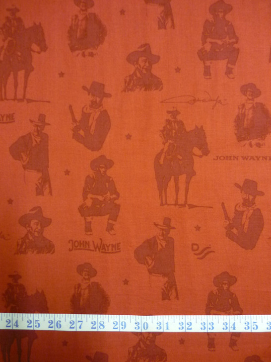 John Wayne Silhouettes Red Cotton Quilting Fabric