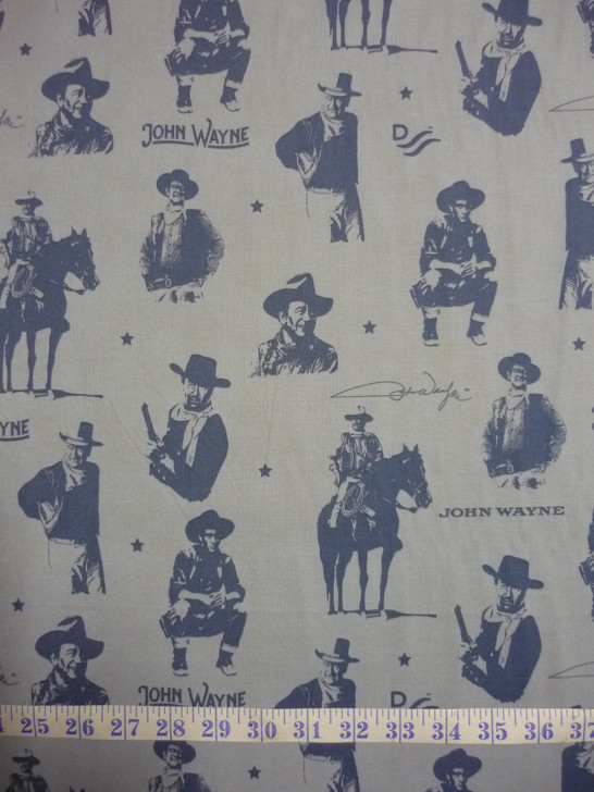 John Wayne Silhouettes Blue Cotton Quilting Fabric
