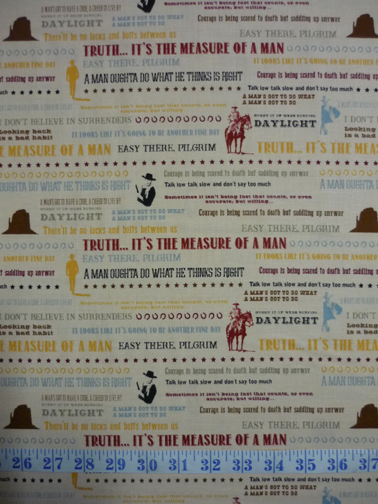 John Wayne Quotes Tan Cotton Quilting Fabric