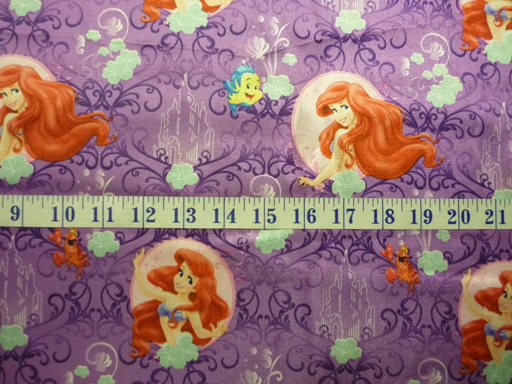 Disney My Little Mermaid Lavender Brushed Back SATIN Fabric