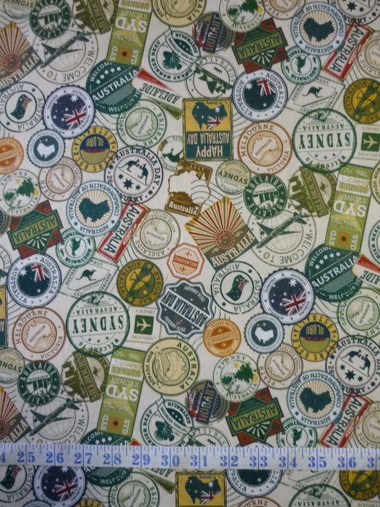 Journey To Australia Travel Stickers Brown Tones Cotton Quilting Fabric