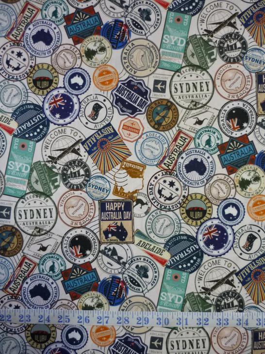 Journey To Australia Travel Stickers Blue Tones Cotton Quilting Fabric
