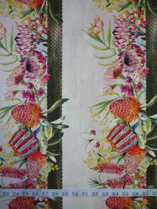 Australian Garden Twist Wildflower Border Stripe Cream Cotton Quilting Fabric