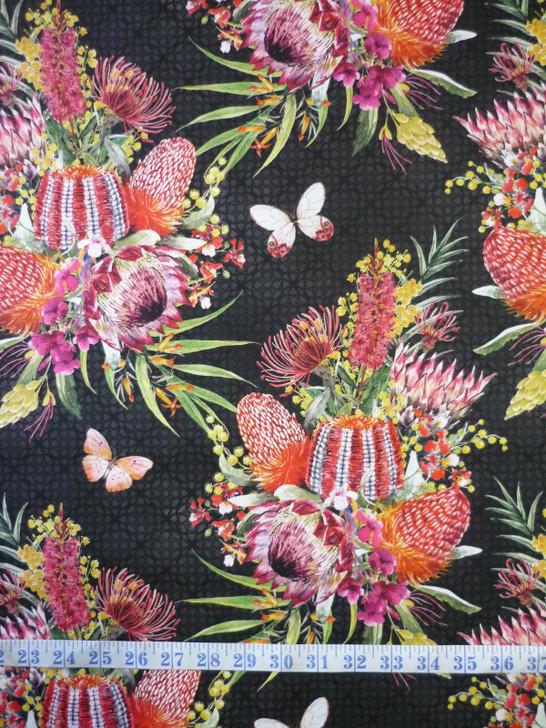 Australian Garden Twist Wildflower Bouquet Black Cotton Quilting Fabric