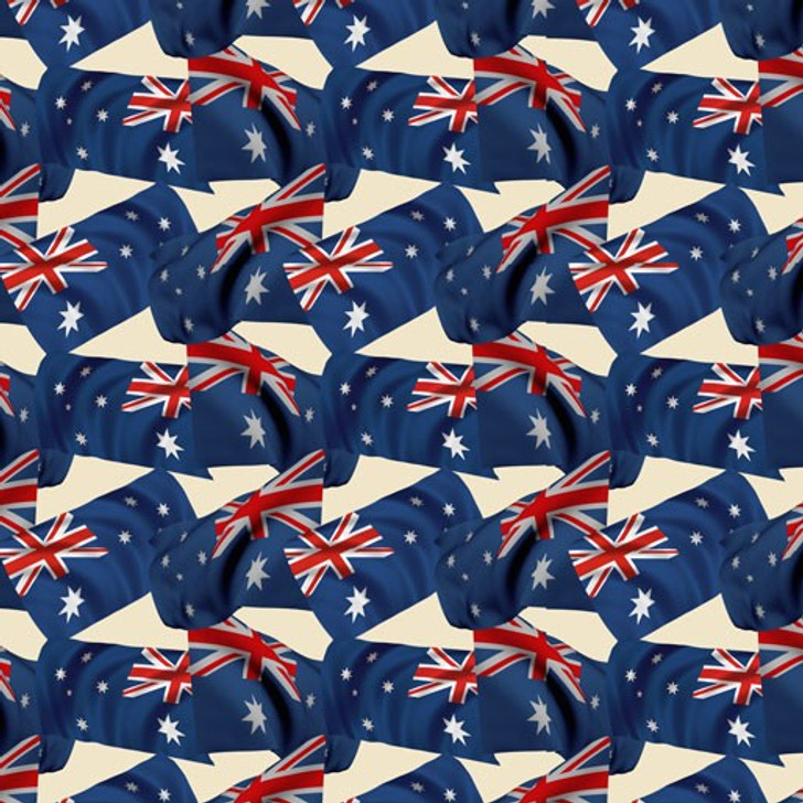 Remembering Womens Wartime Service Australian Flag Cream Cotton Quilting Fabric